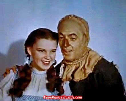 Pretty Judy Garland as Dorothy with Ray Bolger as the Scarecrow