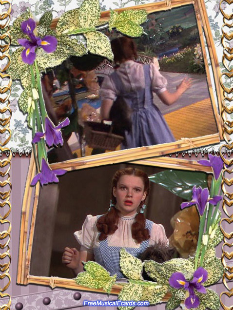 Judy Garland as Dorothy walks out the door into the land of Oz