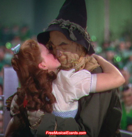 Judy Garland as Dorothy with Scarecrow, played by Ray Bolger