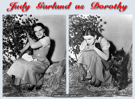 Judy Garland as Dorothy with Toto on The Wizard of Oz set
