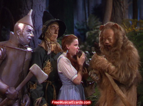 Judy Garland as Dorothy giggles in The Wizard of Oz