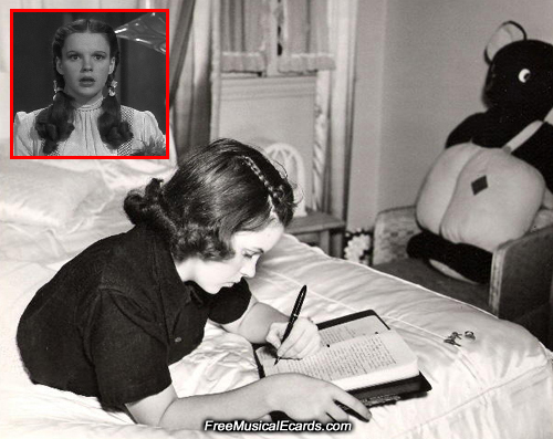 Judy Garland writing a letter