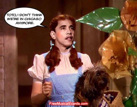Barack Obama as Dorothy in The Wizard of Oz