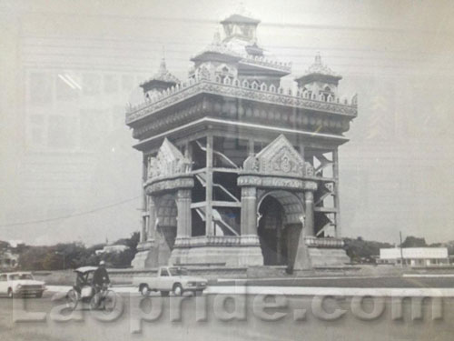 Construction stage of Patuxay monument in Vientiane