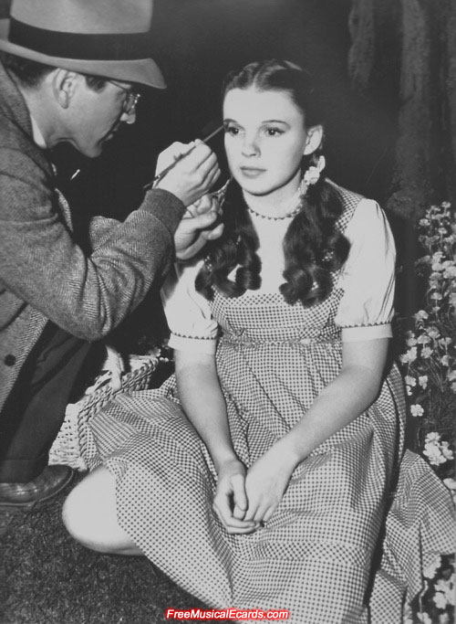 Judy Garland as Dorothy behind the scenes in The Wizard of Oz