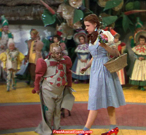 Judy Garland as Dorothy on the Yellow Brick Road in Munchkinland
