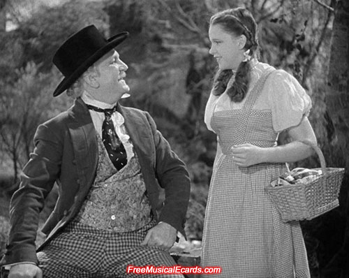 Judy Garland as Dorothy with Frank Morgan as Professor Marvel in The Wizard of Oz