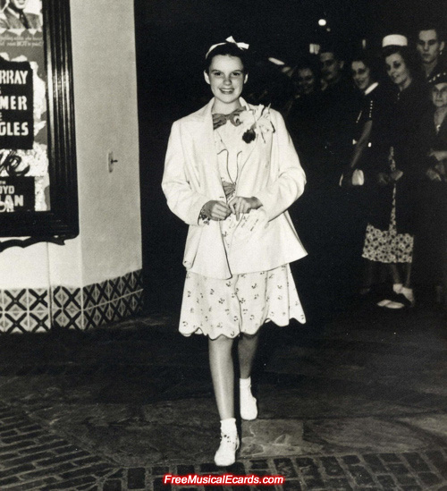 Judy Garland at the premiere of Broadway Melody of 1938 (1937 musical film)