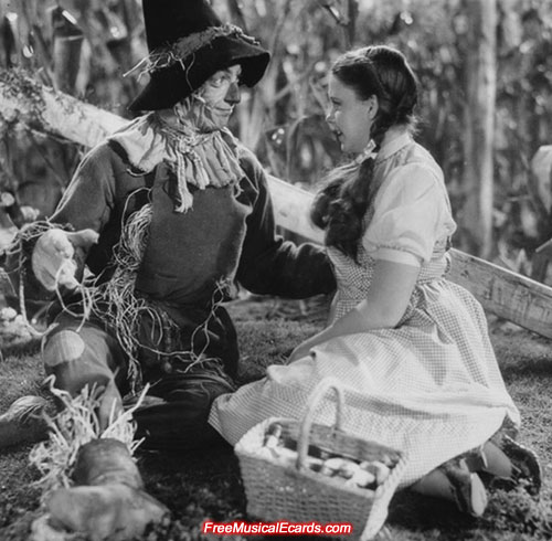 Judy Garland as Dorothy with the Scarecrow in The Wizard of Oz