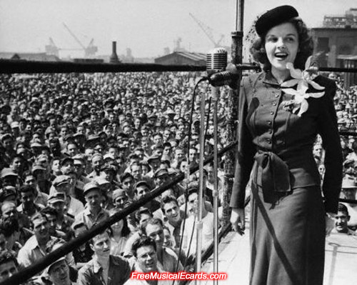 Judy Garland entertaining US troops in World War II