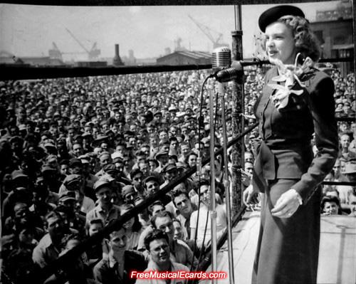 Judy Garland entertaining US troops in World War II