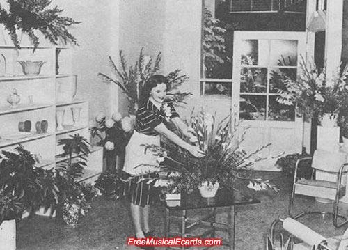 Judy Garland arranging flowers inside her shop