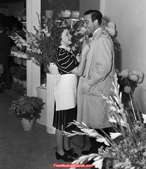 Judy Garland inside her flower shop