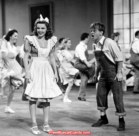 Judy Garland as Penny, and Mickey Rooney as Tommy in Babes on Broadway