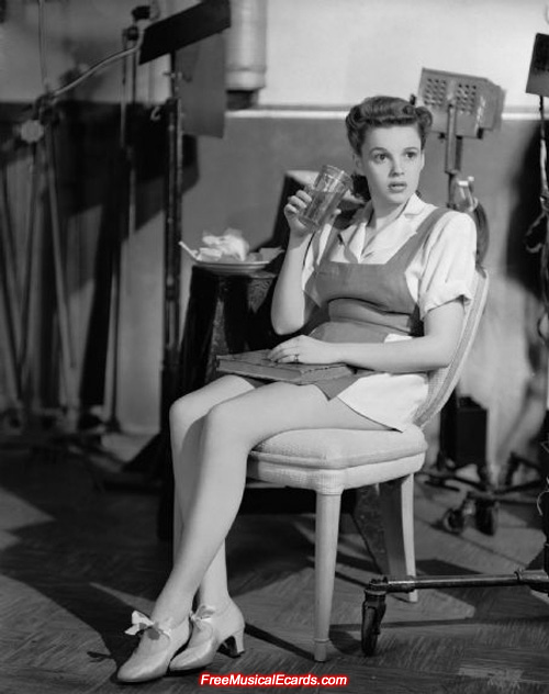 Judy Garland on the set of Ziegfeld Girl