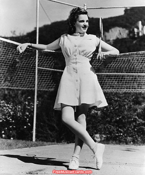 17-year-old Judy Garland on the tennis court