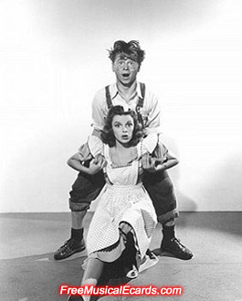 Judy Garland and Mickey Rooney publicity photo in Babes on Broadway