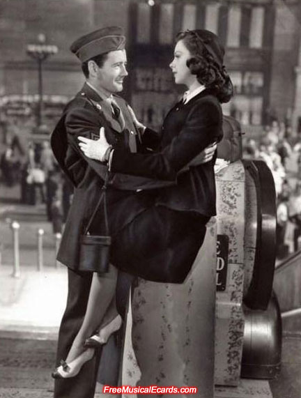 Judy Garland as Alice, and Robert Walker as Joe in The Clock