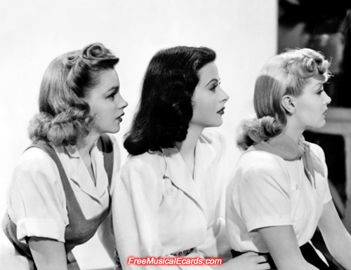 Judy Garland (left), Hedy Lamarr (centre) and Lana Turner (right)