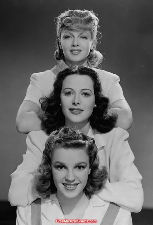 Judy Garland (bottom), Hedy Lamarr (centre) and Lana Turner (top)
