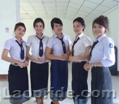 Lao female students posing for the camera