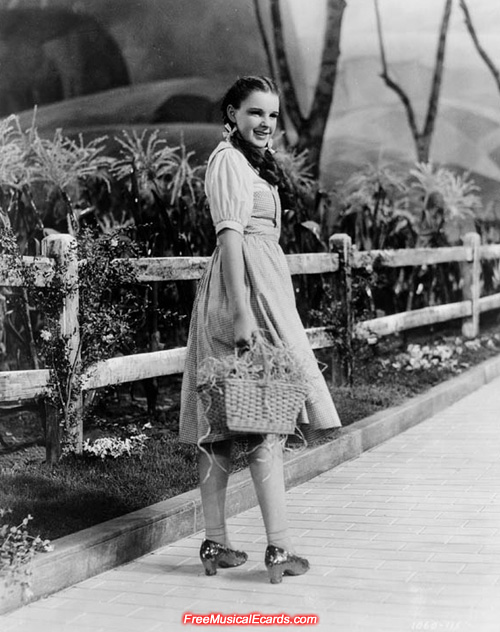 Publicity still of Judy Garland as Dorothy on The Wizard of Oz set