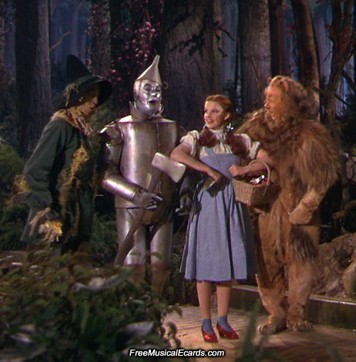 Scarecrow, Tin Man, Dorothy and Lion on the Yellow Brick Road