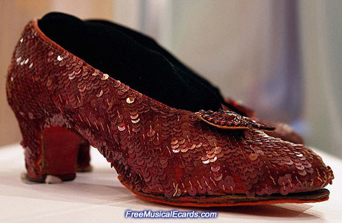 Sequins on the ruby slippers worn by Judy Garland in The Wizard of Oz