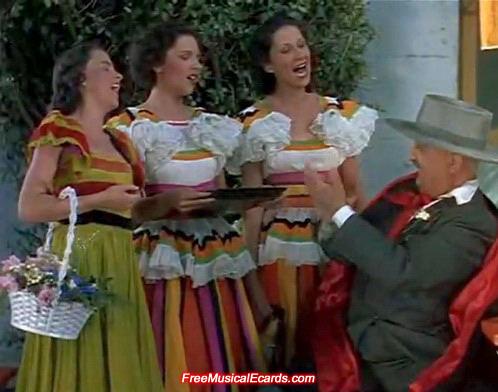 Judy Garland and her sisters singing La Cucaracha in a short MGM film, La Fiesta de Santa Barbara