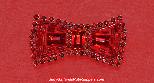 Close up of the bow identical to the original ruby slippers