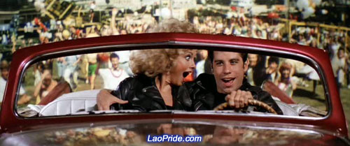 John Travolta as Danny and Olivia Newton-John as Sandy starred together in Grease (1978)