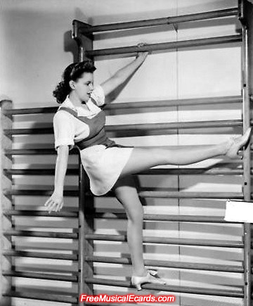 Hollywood bombshell Judy Garland shows her balancing skills