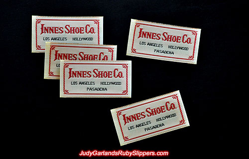 Innes Shoe co. label used on the original ruby slippers