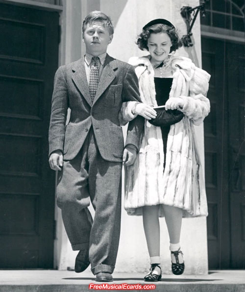 Judy Garland and Mickey Rooney together as teenagers