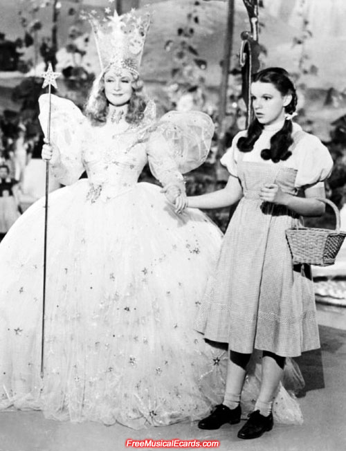 Judy Garland as Dorothy and Billie Burke as Glinda