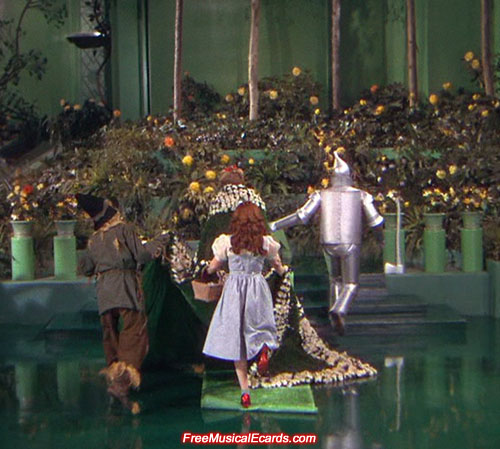 Judy Garland as Dorothy gets her foot caught in the rug