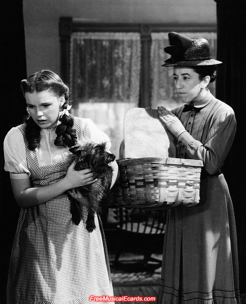 Judy Garland as Dorothy on The Wizard of Oz set