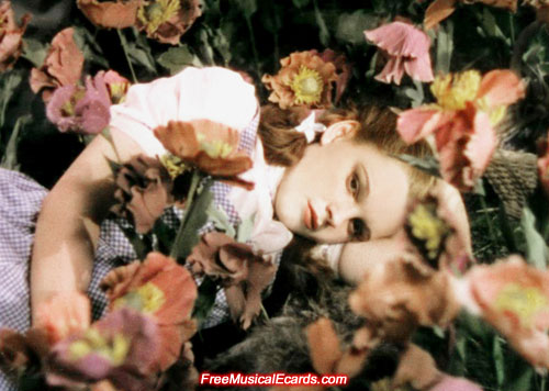 Rare behind-the-scenes photo of Judy Garland in the Poppy Field