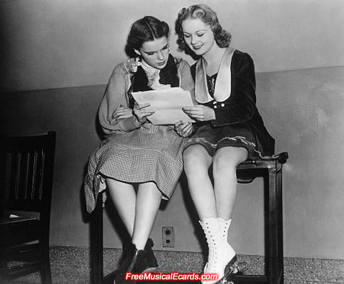 Judy Garland as Dorothy reading her lines on the set of The Wizard of Oz