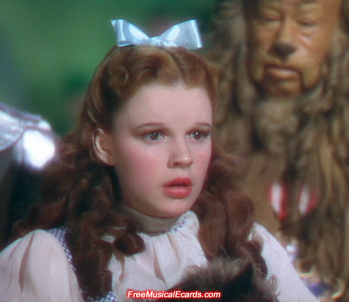 Judy Garland as Dorothy says goodbye to her friends in Oz