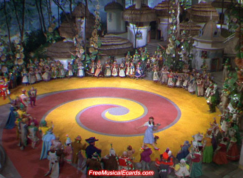 Judy Garland as Dorothy sets off down the Yellow Brick Road