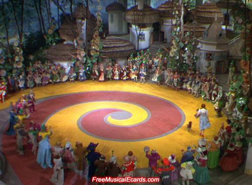 Judy Garland as Dorothy sets off down the Yellow Brick Road