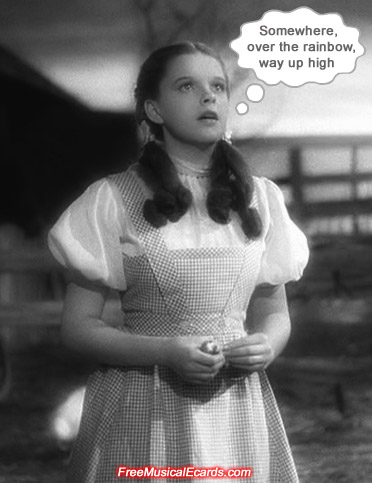 MGM beauty Judy Garland as Dorothy singing her signature song in a barnyard