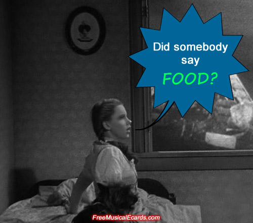 Judy Garland as Dorothy wakes up to food