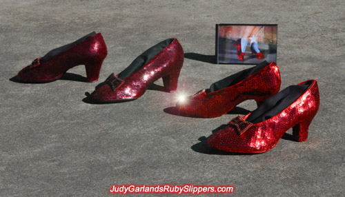 Judy Garland as Dorothy's replica ruby slippers unite