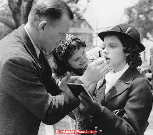 Judy Garland getting her makeup done