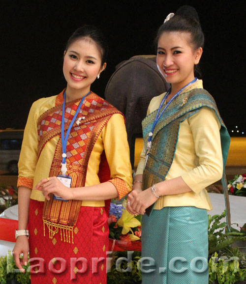 Two Lao Airlines hostesses
