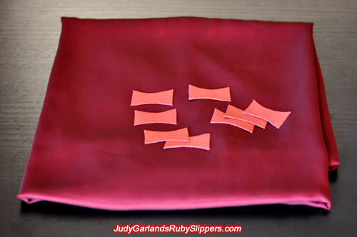 Leather cut into the shape of a bow for Judy Garland's ruby slippers