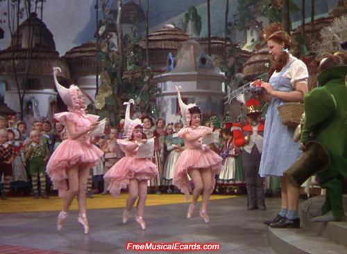 Judy Garland and the Munchkins in The Wizard of Oz