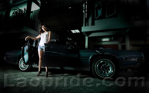Nice Lao girl and car